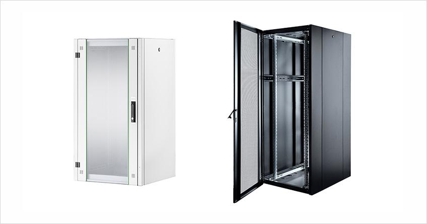 Przykładowe szafy serii DIGITUS® Hyper w dwóch wersjach kolorystycznych