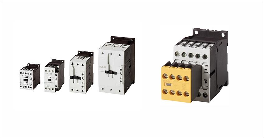 Rys. 3. Przemysłowe styczniki silnikowe DILM //// Rys. 4. Styczniki bezpieczeństwa mocy DILMS i pomocnicze DILAS