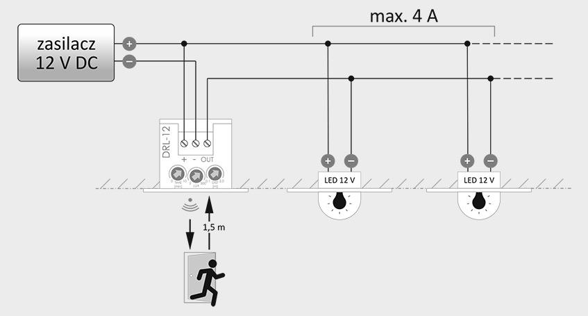 Schemat bezpośredniego podłączenia oświetlenia