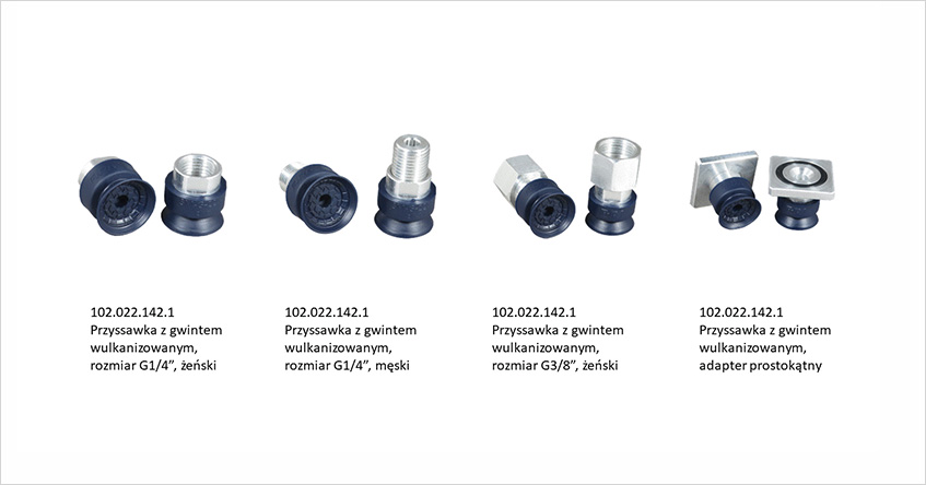 Przyssawka płaska do przenoszenia metalowych elementów, najczęściej arkuszy blachy, średnica 22mm, zwulkanizowanym mocowaniem jest dostępna w czterech wersjach mocowania