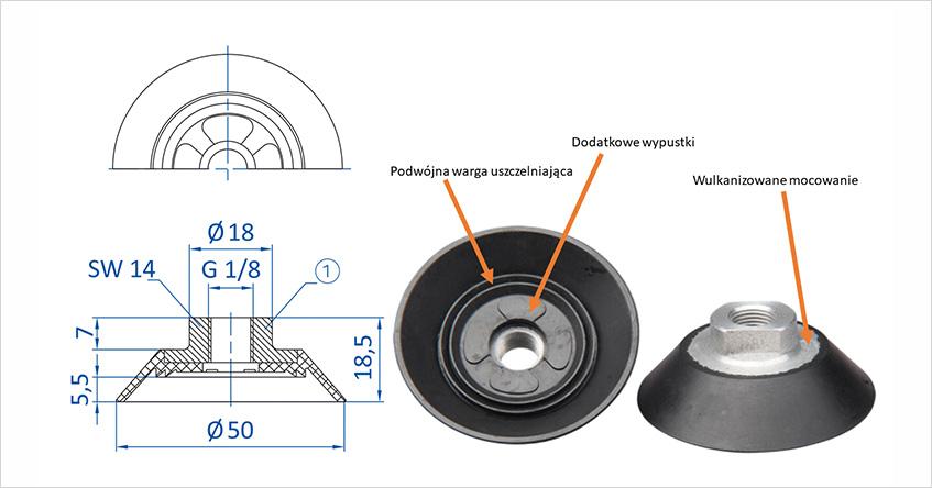 FIPA 150.050.032.9 - Przyssawka płaska 50mm z wulkanizowanym mocowaniem G1/8 żeński.